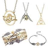 Lot de 5 colliers Harry Potter pour fans de Harry Potter, cadeau de collection de bijoux