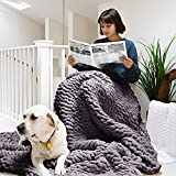 ERLYEEN Chunky Knit Blanket Throw Chenille Cable Handmade Chunky Knit Throw Blanket Warm Soft Cozy for Bed Chair Sofa Best Gift,Dark Grey 40'x40'(Single Sofa)