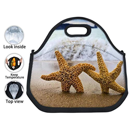 Lunch Bag Animal Starfish Carry Case Tote with Zipper Cooler Container Bags Picnic Travel Handbag Pouch for Women Men Kids Girls