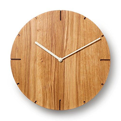 Natuhr Wanduhr Eiche geölt Holz Solide Massivholz, geräuscharmes Junghans Uhrwerk, puristisch, modern, Made in Germany (Beige Zeiger)