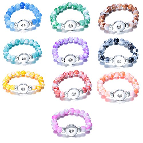 Soleebee 10 Stück verstellbaren Damen Runde Perlen Stretch Armbänd Click Button Armband passt 18mm Click Button Charms