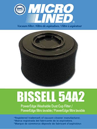 DVC MicroLined Bissell PowerEdge Pet Hard Floor Vacuum Premium Washable HEPA Cartridge and Outer Foam Filter Set Designed to fit Models 81L2, Replaces Bissell Part 54A2