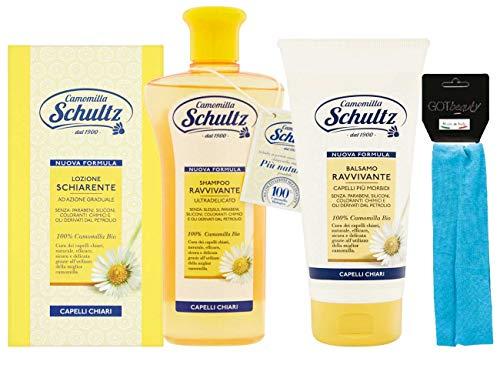 Schultz - linea trattamento cappelli,Lozione Schiarente 200 ml,Shampoo Ravvivante Ultra delicato,Balsamo Ravvivante Capelli Chiari 200ml più fascia per cappelli elastica