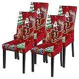 Vertvie Coprisedia natalizio, set da 1/2/4/6 pezzi, elasticizzati, universali, moderni, per feste e...