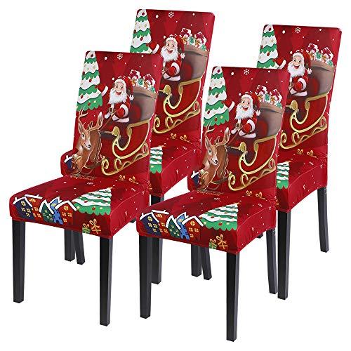 Shujin Universal Stretch Weihnachten 2/4/6er Set Stuhlhussen Abnehmbare Stuhlbezug Stuhl Esszimmer überzug Stuhlüberzu Abdeckungen Hussen für Husse Hotel Party Bankett