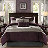 Madison Park - Palmer 7 Piece Comforter Set - Plum - King -...