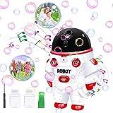 Automática Máquina de burbujas, soplador de burbujas 3500+ burbujas por minuto, máquina de burbujas con música y luces, juguetes de jardín portátiles para exteriores, mejores regalos para niños niñas.