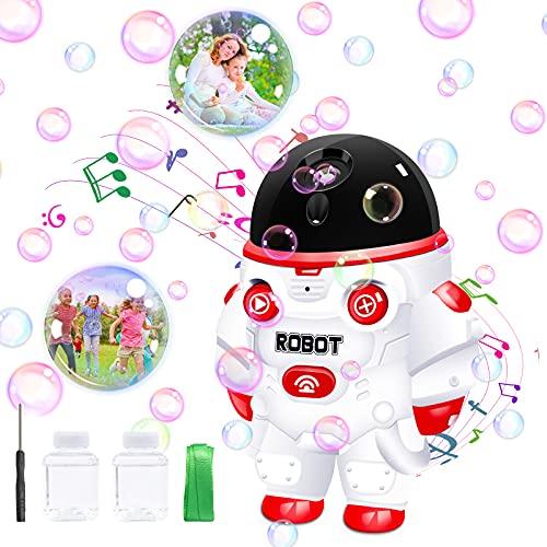 Automática Máquina de burbujas, soplador de burbujas 3500+ burbujas por minuto, máquina de burbujas con música y luces, juguetes de jardín portátiles para exteriores, mejores regalos para niño