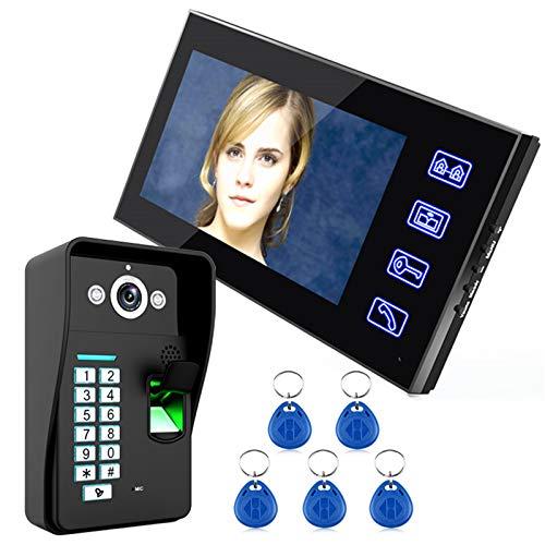 Videoportero, reconocimiento de huellas dactilares Contraseña RFID Video Portátil Intercomunicadura Inicio Vigilancia, Monitor de 7 pulgadas + Cámara de visión nocturna