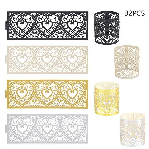 CHALA 32stk Papier Kerzenhalter Vintage Kerzenständer LED Kerzen Ständer Schwarz Kerzenleuchter Teelichthalter Tischdeko für Flammenlose Votivkerzen Teelichter Valentinstag Hochzeit