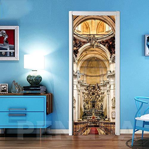 JBMTH 3D-Wandbild Selbstklebend Berühmte Architektonische Ideen Türposter Türfolie Poster Tapete Home Mädchen Schlafzimmer Entfernbare Tapete Kinderzimmer Wohnzimmerbüro-Stangentür-Kunst77x200CM