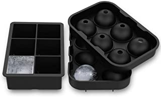 Ice Cube Trays, Silicone Sphere Whiskey Ice Ball Maker with Lids Large Square Ice Cube Molds for Cocktails & Bourbon BPA Free (Set of 2)