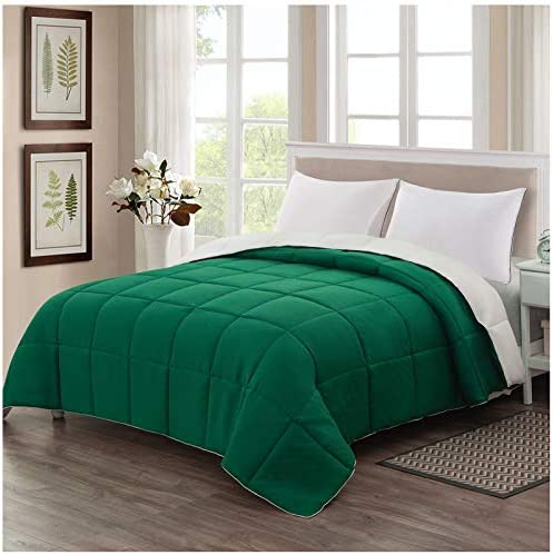 Homelike Moment Reversible Lightweight Comforter Queen Green Ivory All Season Down Alternative product image