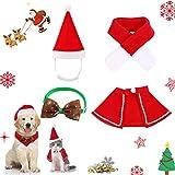 4 Piezas,Disfraz de Navidad para Mascotas,Traje de Navidad Perro pequeño,Gorro y Bufanda de Gato de Navidad,Disfraz De Gato Navidad,Disfraz de Papá Noel de Pet (L)