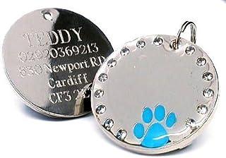ZengBuks Ciondolo Circolare LED Elettroni Identificazione Targhetta per Cani Flash Bagliore nel Buio Accessori per Cani Accessori per Cani da Compagnia Blu Blu