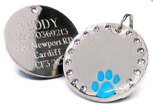 County Engraving, Targhetta rotonda personalizzabile per cani e animali domestici, con zampa blu e cristalli rotondi, diametro: 30 mm, con incisione personalizzabile -