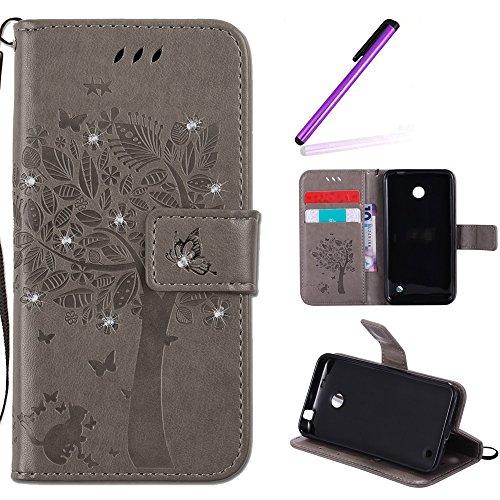 EMAXELERS Nokia Lumia 630 Hülle PU Lederhülle Bookstyle Handyhülle Flip Glitzer asche Brieftasche Bumper mit Kartenfächer Wallet Tasche Etui für Nokia Lumia 630/635,Diamond Gray Wishing Tree