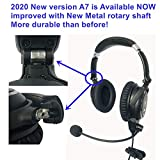 UFQ A7 ANR Aviation Headset- 2020 Version with Metal Shaft More Durable -A7 Could be a Small Version Boss A-20 BUT More Comfortable Clear Communication Great Sound Quality for Music with MP3 Input