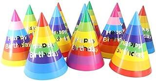 Rainbow Birthday Party Cone Hats, 12 ct