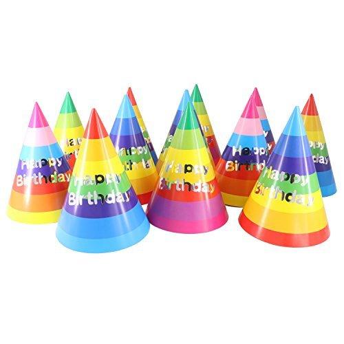 Birthday Party Cone Hats, Rainbow 12 ct