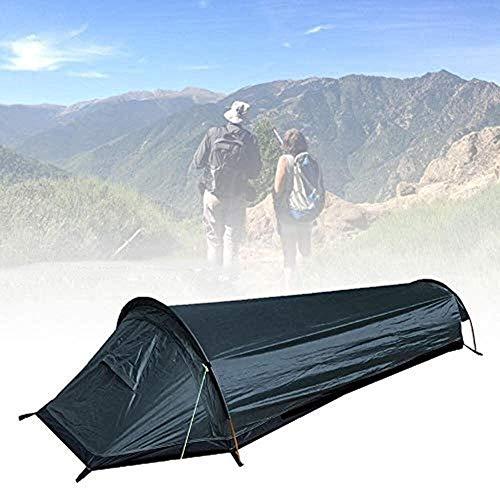 Qiusa Tienda de campaña compacta para una sola persona, militar, bolsa de dormir, tienda de campaña, para una persona, impermeable, funda para dormir, para camping, senderismo, viajes, escalada