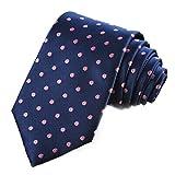 KissTies Polka Dot Tie Pink Dots Navy Blue Necktie + Gift Box