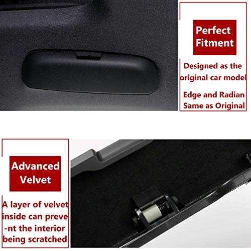 Black Eyewear Box Holder Fits Audi A1 A3 A4 A5 A6 S3 S5 S7 Q3 Q5 Q7 2012-20120 Porsche Cayenne 2018-2020 Panamera 2017-2020 VW Touareg 2019-2020 TTCR-II Interior Glasses Case for Audi Porsche