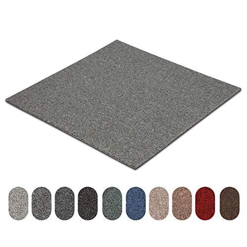 Teppichfliesen Astra | selbstliegend | Strapazierfähig und pflegeleicht | Bodenbelag für Büro und zu Hause | 50x50 cm | Erhältlich in vielen Farben (Hellgrau 82)