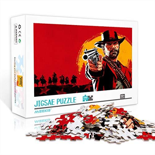 Rompecabezas difícil de 1000 Piezas para Adultos y Adolescentes Red Dead Redemption 2 Rompecabezas clásico Juego de 1000 Piezas Gran opción de Regalo 38x26cm