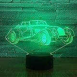 Nuovo Lámpara de ilusión óptica de modelo de coche clásico retro Lámpara 3D Led Lámpara de atmósfera de acrílico de luz nocturna Lámpara moderna de 7 colores