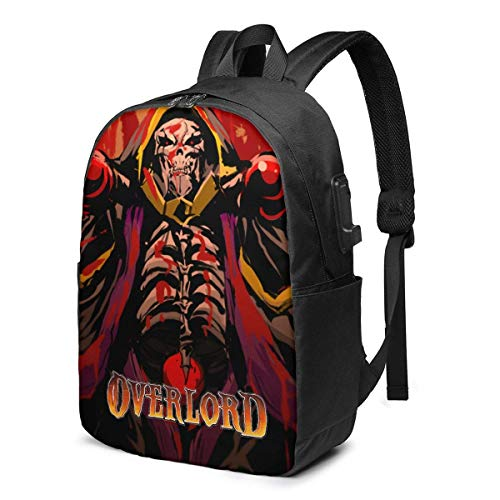 DJNGN Funny Overlord 17 in Backpack Notebook USB Charger Bookbag Daypack Durable Man Girl Label Card Bag