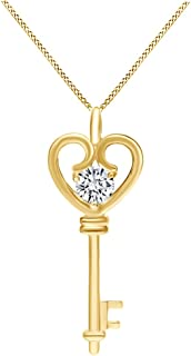 Jewel Zone US Natural Diamond Dragonfly Pendant Necklace in 14K Gold Over Sterling Silver