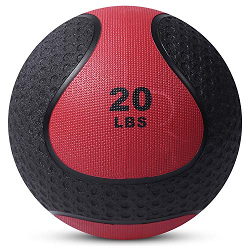 Medicine Exercise Ball with Dual Texture for Superior Grip by Day 1 Fitness - 20 Pounds - Fitness Balls for Plyometrics, Workouts - Improves Balance, Flexibility, Coordination