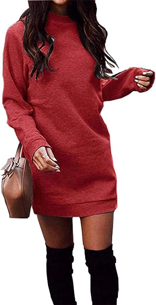 Miselon Women's Casual Fleece Long Pullover Sweatshirt Dress Long Sleeve Mini Sweater Dresses with Pockets