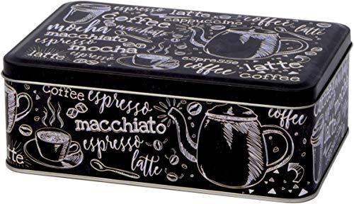 Scatola di latta rettangolare per biscotti in stile vintage con parole che si riferiscono al caffè, in bianco e nero