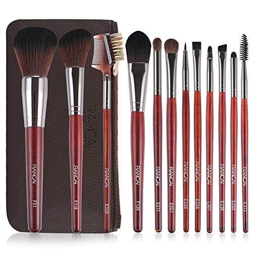 KLI 12Pcs / Set Redwood Pro Maquillage Pinceau Maquillage Pinceaux Poudre Fard À Paupières Fondation Pinceau À Sourcils Outils Cosmétiques avec Sac