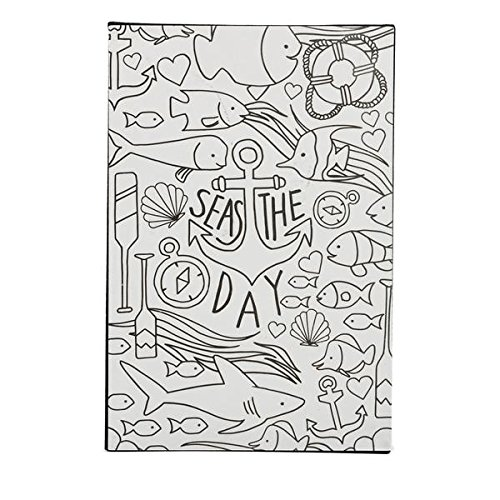 """DCI Color Joy Seas The Day Art Block, Coloring Products, DIY Crafts, Nautical Pattern, Ready to Display on Wall or Shelf, 4"""" x 7"""" x .75"""" , Great for kids and adults alike"""