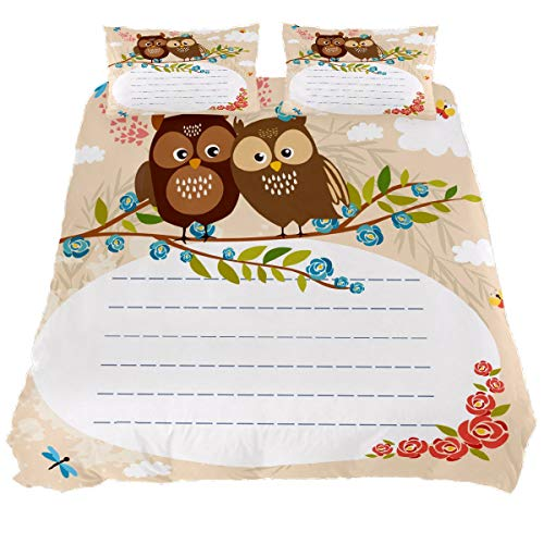 N\O Lined Space for Text Owls Duvet Cover Bedding Set Bedclothes Decorative 3 Pieces (1 Duvet Cover + 2 Pillow Shams) Ultra Soft Hypoallergenic Microfiber