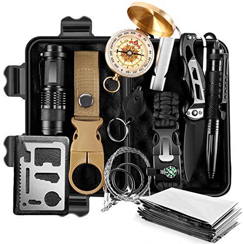 Odoland Survival Kit 13 IN 1 Multifunktional Notfall-Überlebenskits mit Kompass Paracord Armband Rettungsdecke Taschenlampe und weiterem Zubehör für Camping Wandern Jagden Bushcraft Outdoor Abenteuer