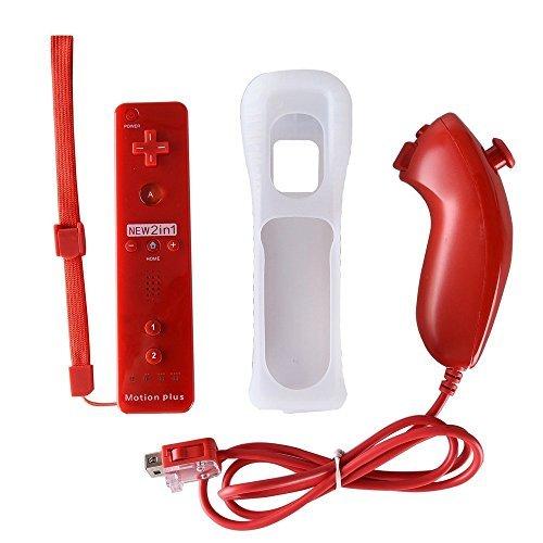 NewBull Controlador de Juego Motion Plus 2 en 1 para Nintendo Wii y Wii U (Rojo)
