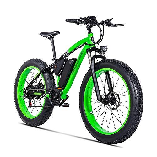 PHASFBJ FT26 Elektrofahrrad Fatbike E-Bike Pedelec, Elektrofahrrad Mountainbike mit 500W Kettenschaltung Shimano 21 Gang Elektrisches Fahrrad Citybike für Erwachsene,Grün