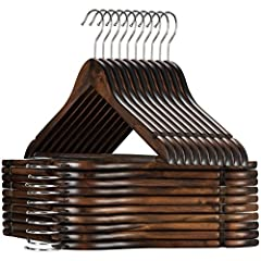 Set of 20 premium lotus wood suit hangers. These luxurious clothes hangers are unlike the rest; made of exceptional quality clear varnished wood with all practical features as a 360 degree chrome hook, a grooved, vinyl covered pant bar, and a contour...