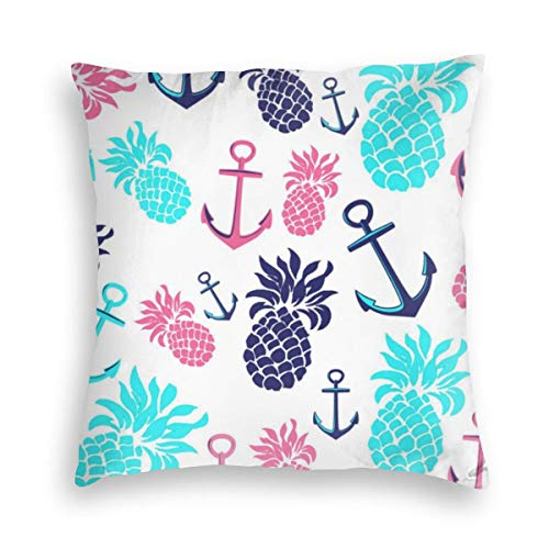 Feamo Tropical Teal Navy Pink Nautical Pineapple Velvet Soft Decorative Square Throw Pillow Covers Cushion Case Pillowcases for Sofa Chair Bedroom Car 18X18inch
