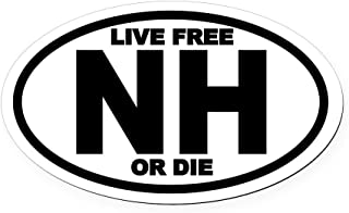 CafePress New Hampshire Live Free Or Die Oval Car Magnet Oval Car Magnet, Euro Oval Magnetic Bumper Sticker