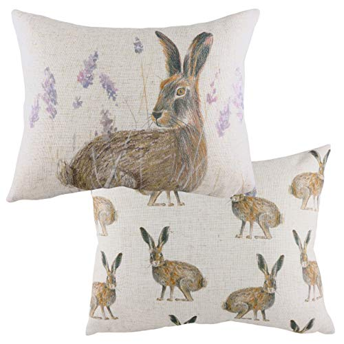 Evans Lichfield Standing Hare Feather Filled Cushion, Multi, 43 x 33cm