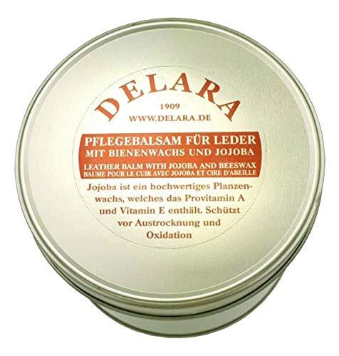 DELARA Baume d'entretien pour Cuir de Haute qualité avec jojoba et Cire d'abeille - protège efficacement Le Cuir Lisse du dessèchement et de l'oxydation, Seau de 500 ML - incolore