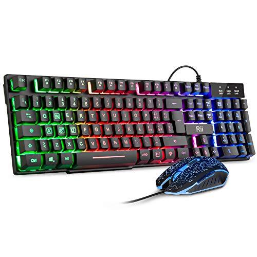 Rii Gaming RK108 (Layout Italiano) - Set Tastiera RK100+ e Mouse da Gioco, retroilluminati a LED, sensibilità Regolabile Fino a 3.200 DPI
