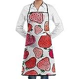 Delantal de patrón de fruta de fresa de dibujos animados de encaje Unisex para hombre para mujer Chef de poliéster ajustable Largo negro completo Delantales de cocina de cocina Babero con bolsillos