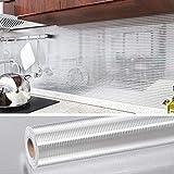 VEELIKE Cucina Effetto di Alluminio Carta da Parati 40cm x 300cm Carta Adesiva Muro Cucina...
