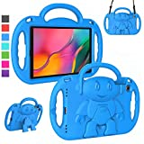 LTROP Kids Case for Samsung Galaxy Tab A 10.1 (2019 Release) Model SM-T510/T515, Light Weight Shockproof Shoulder Strap Handle Stand Kids-Friendly Cover Case for Galaxy Tab A 10.1' Tablet - Blue